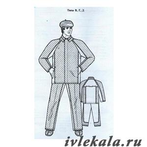 Лекала костюм мужской для защиты от повышенных температур тип В, Г, Д ГОСТ 12.4.045-87
